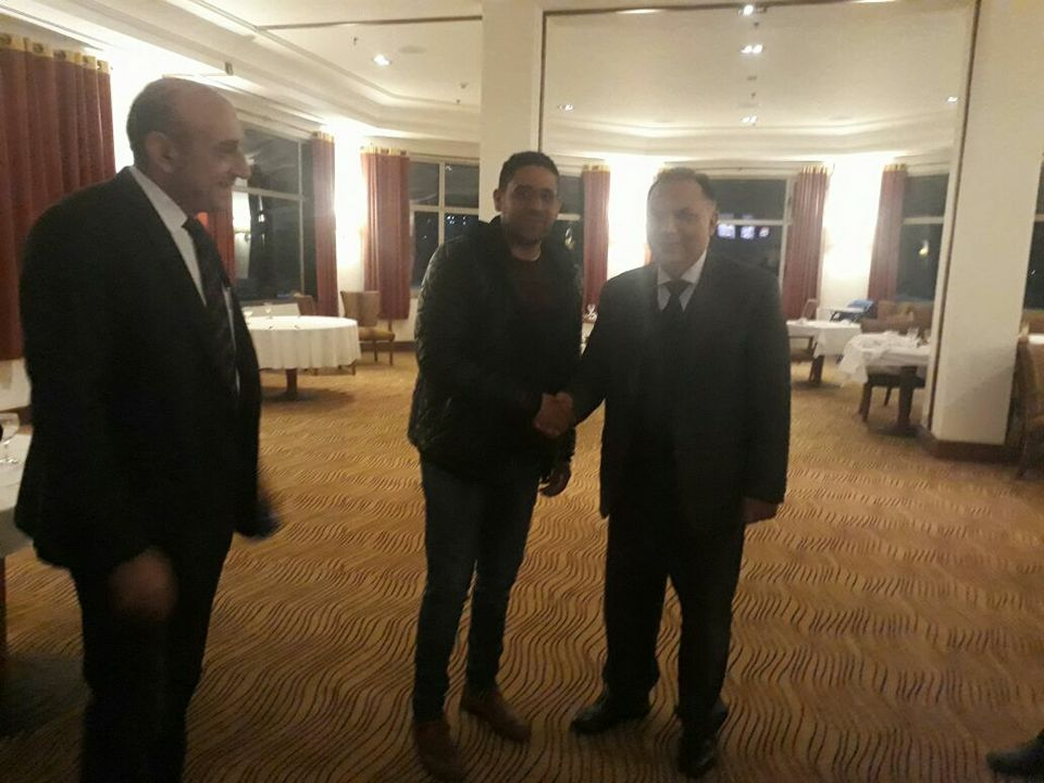 Mr. Mohammad Hesham, Vice Chairman with HE Turkish Ambassador during Businessmen meeting in Movenpick Hotel in Gaza city.